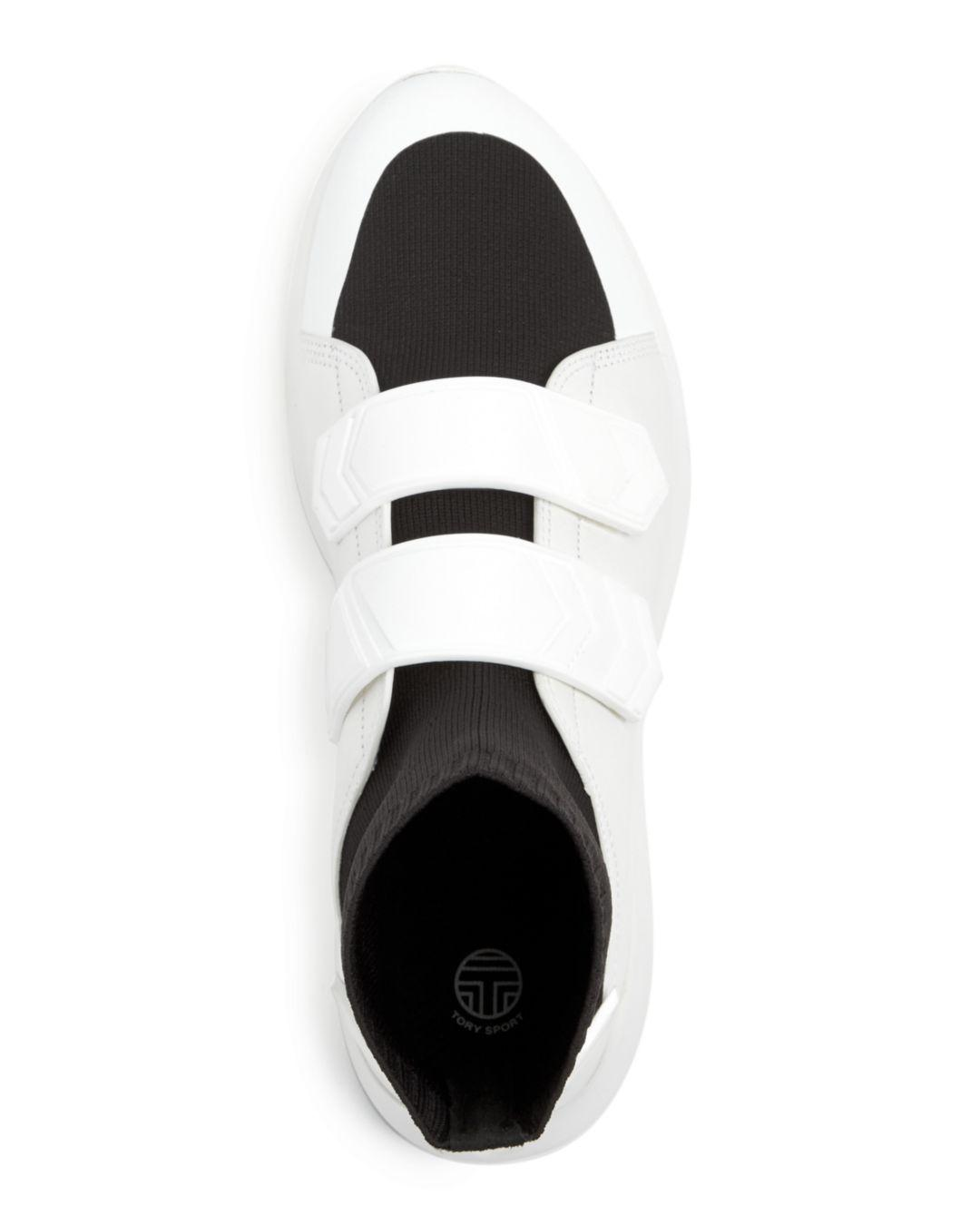 afcbe86e46de Tory Sport - Black Tory Burch Women s Chevron Leather   Knit High Top  Sneakers - Lyst. View fullscreen