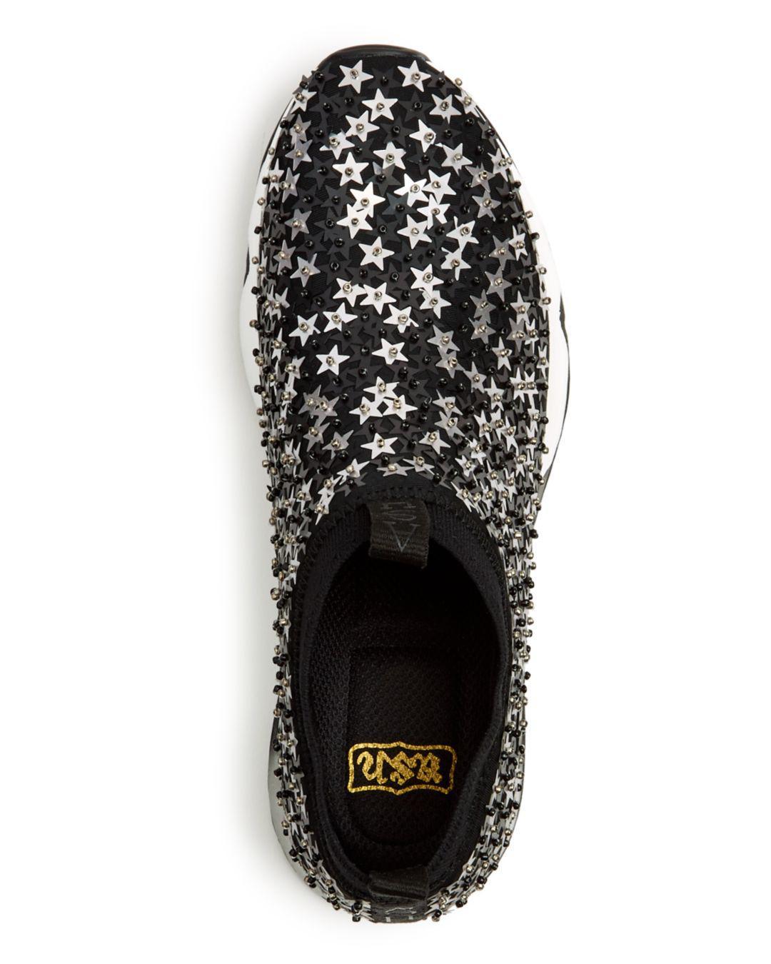 Ash Lighting Star Platform Sock Sneaker (women) in Black/Silver (Black)