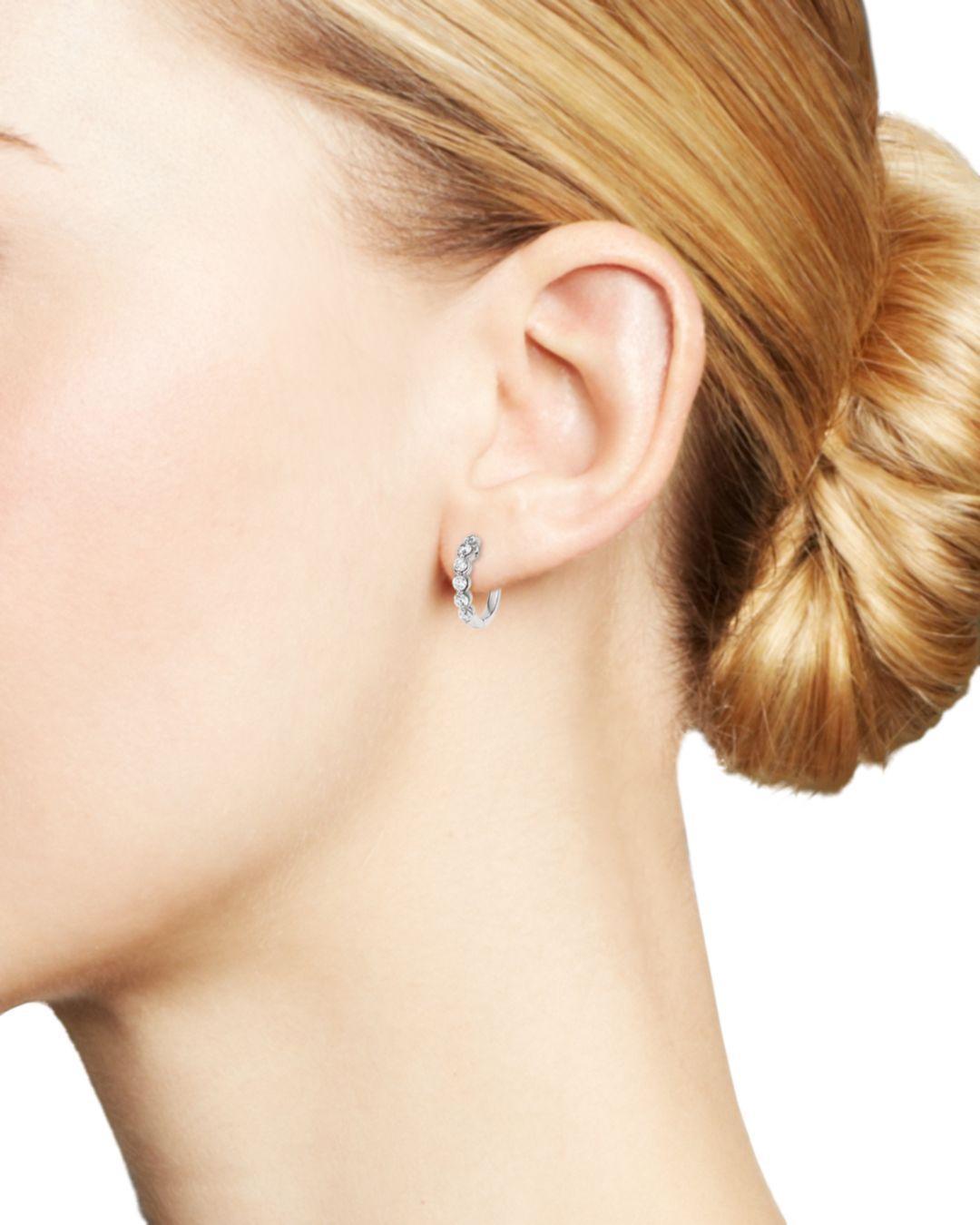 Bloomingdale's Diamond Huggie Hoop Earrings In 14k White Gold