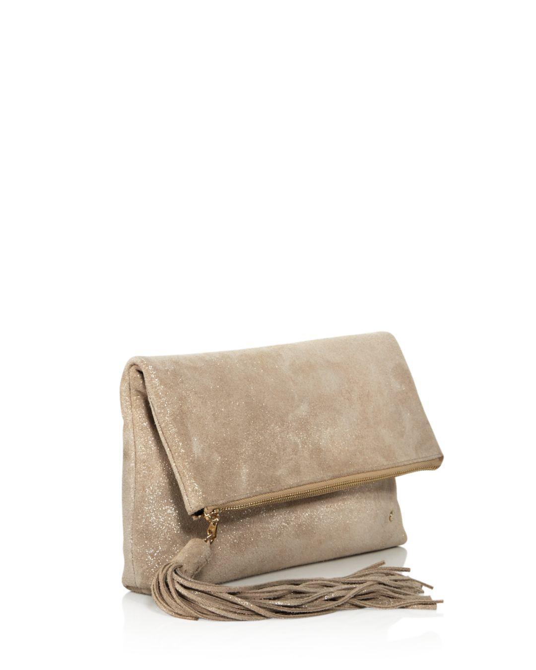 b410d240d Halston Christie Leather Foldover Clutch in Metallic - Lyst