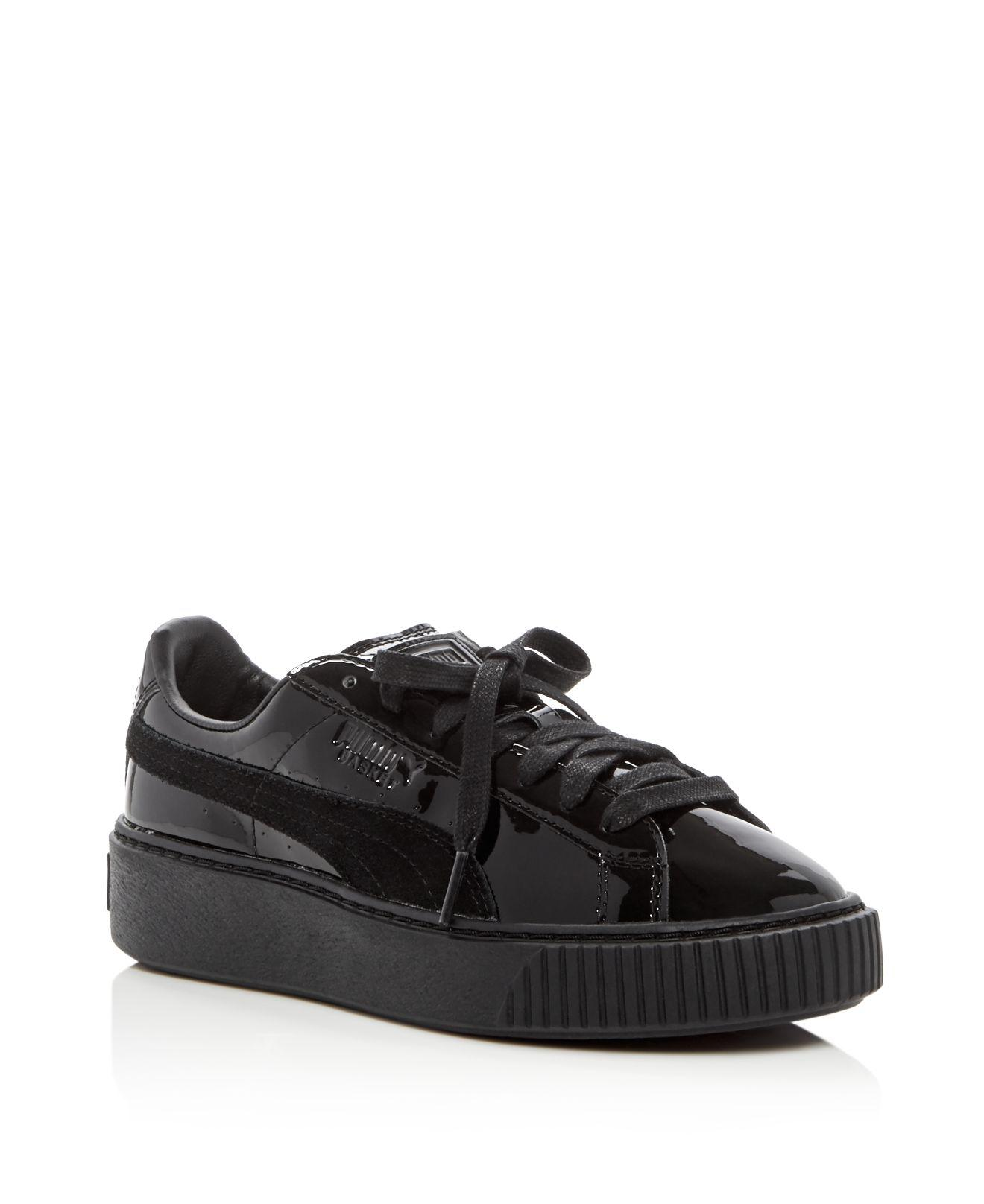 b367d4e6df6fb3 Lyst - Puma Basket Patent Lace Up Platform Sneakers in Black