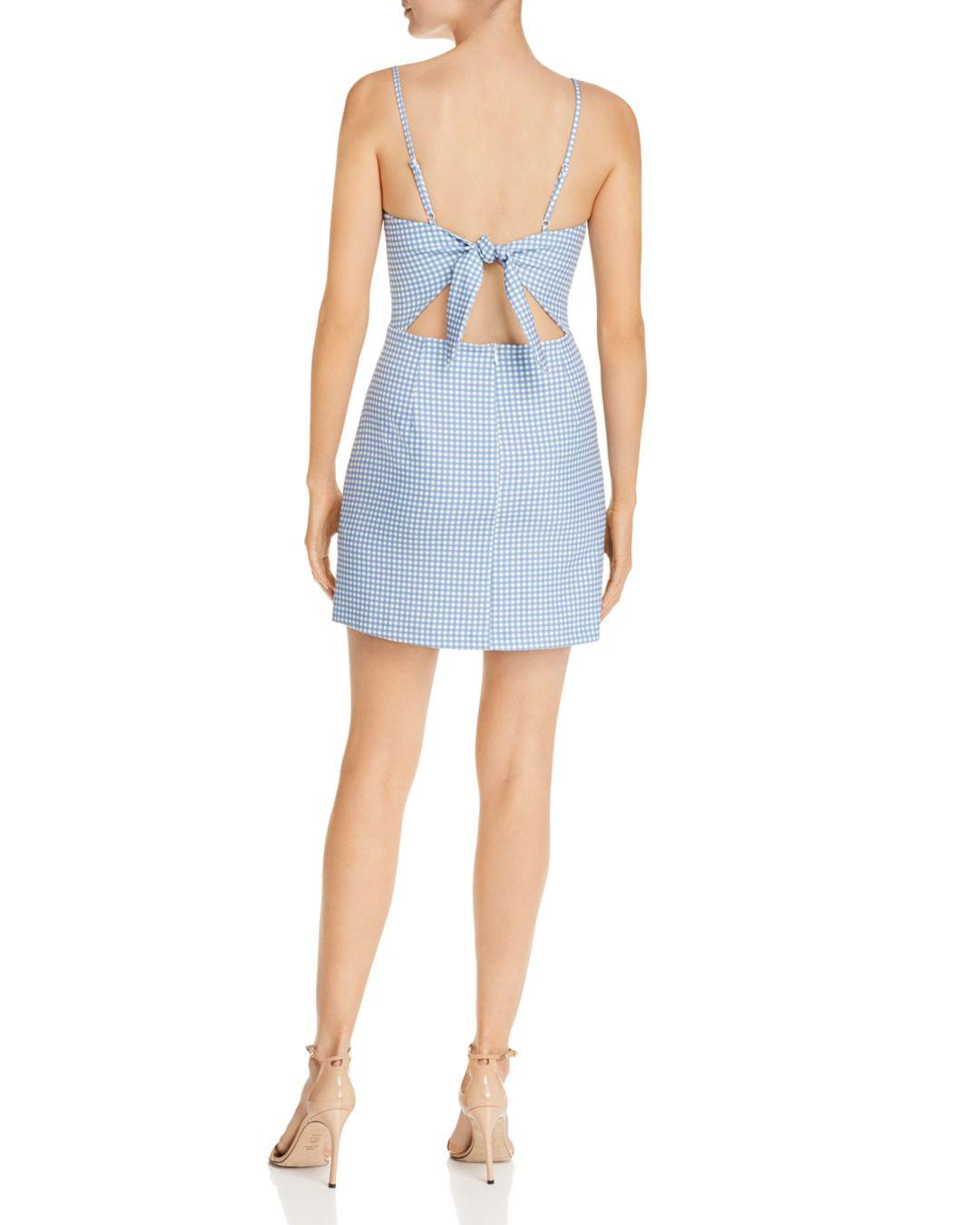 25745bc34e3 Lyst - French Connection Tie-back Gingham Mini Dress in Blue