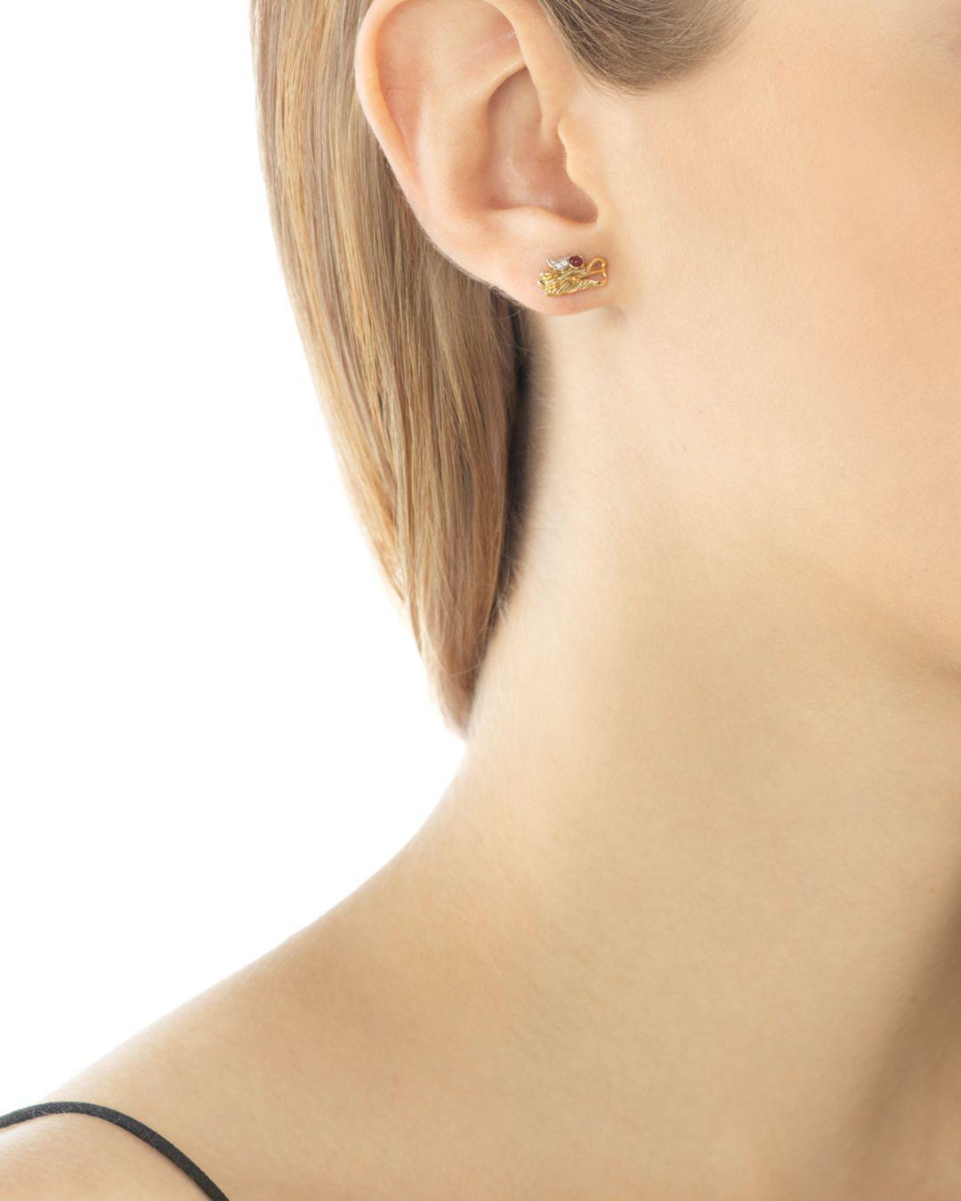 30fe15147d5 John Hardy 18k Gold Naga Diamond Pavé Extra Small Dragon Head Studs Earrings  With African Ruby Eyes in Metallic - Lyst