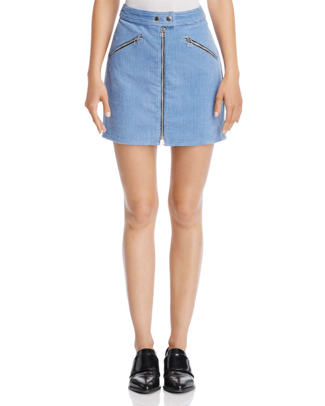 0bcf64f6d Rag & Bone Racer Corduroy Mini Skirt in Blue - Lyst