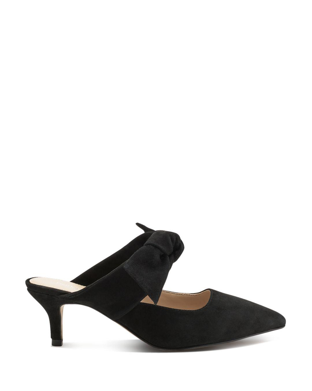 d5be8777cf Botkier Women's Pina Bow - Accented Suede Kitten Heel Mules in Black - Lyst