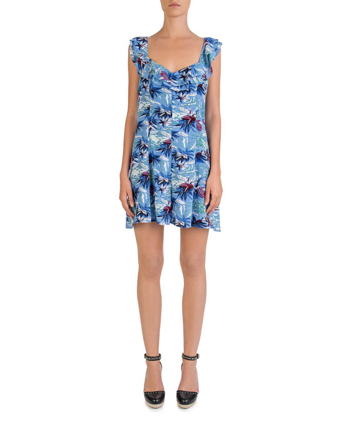 3550ec9b26c Lyst - The Kooples Silk Hawaii-print Romper in Blue