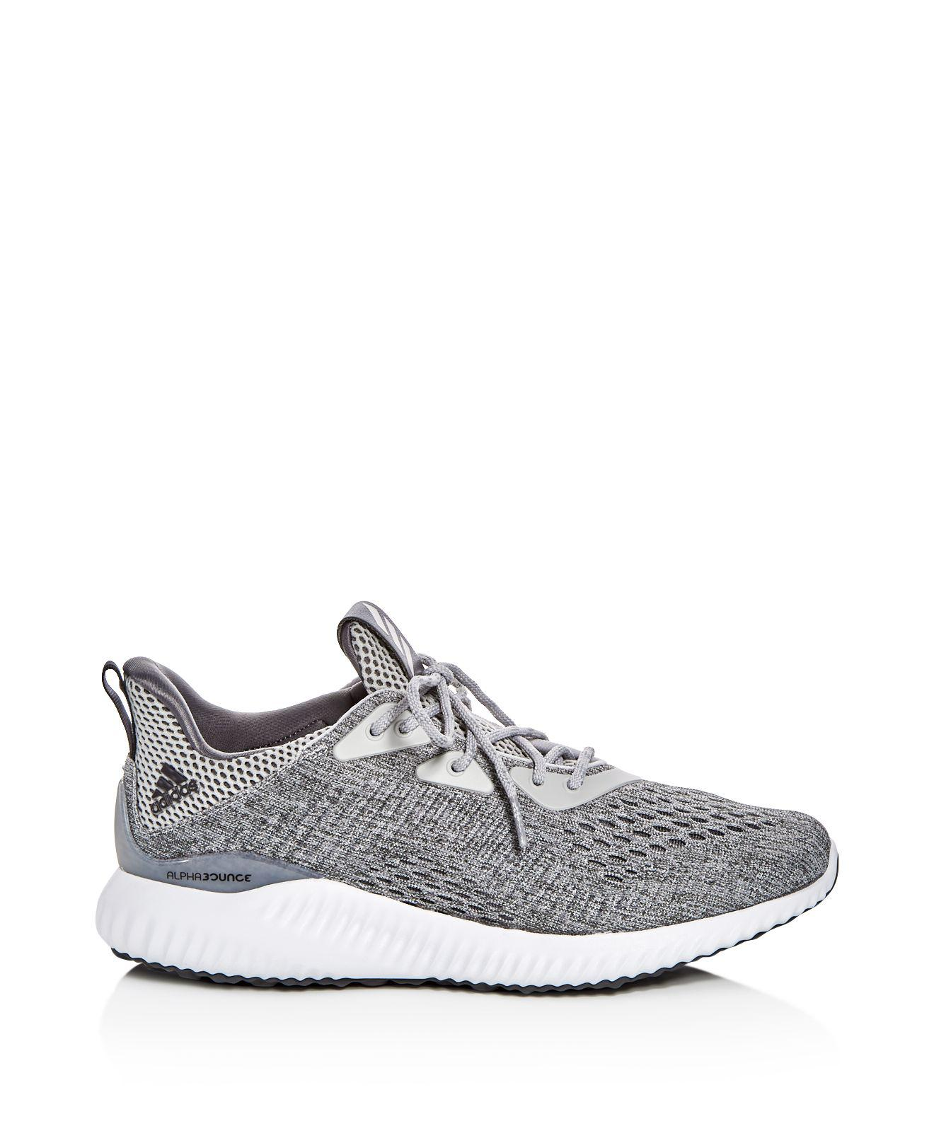adidas Women's Alphabounce Engineered Mesh Lace Up Sneakers in Gray/White (Grey)