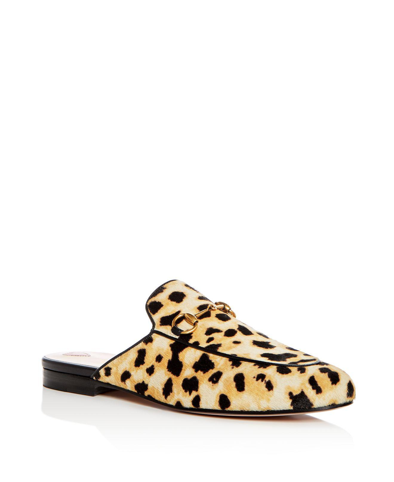 Gucci Leopard Princetown Pony Mules - Lyst