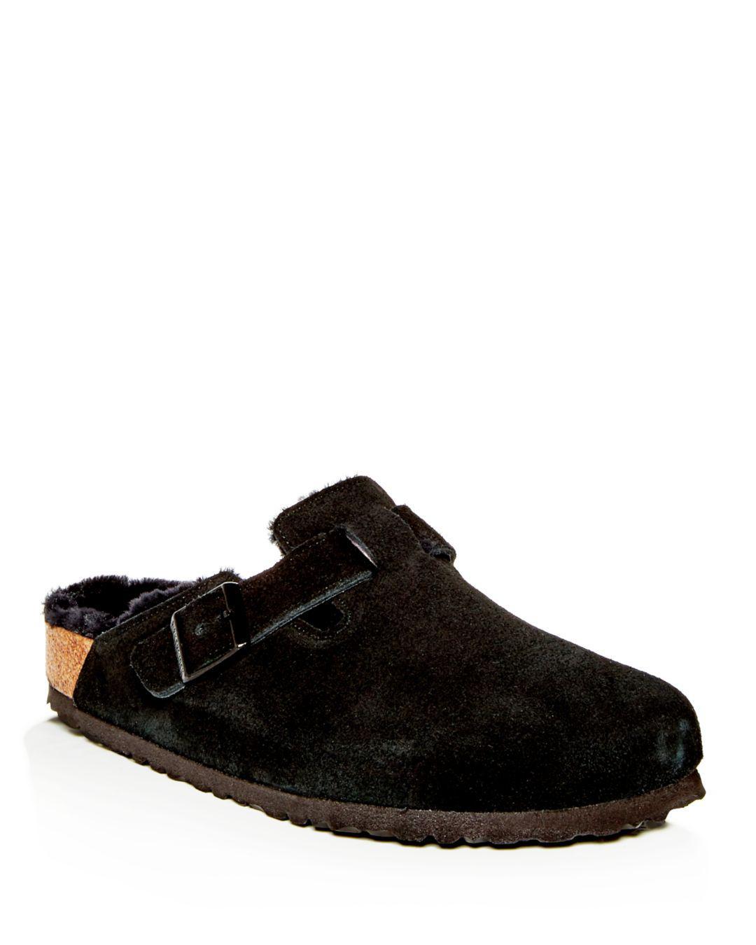 7faf3d90bcec Birkenstock Men's Boston Leather & Shearling Mules in Black for Men ...