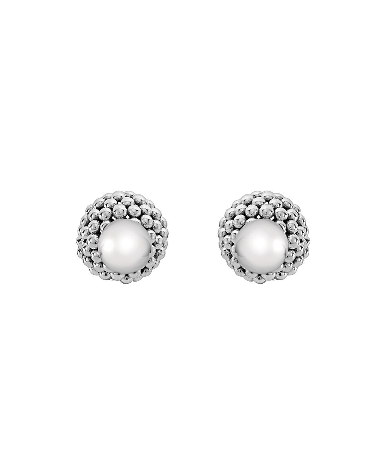 Lagos Caviar Pearl Front-Back Stud Earrings rgY2b