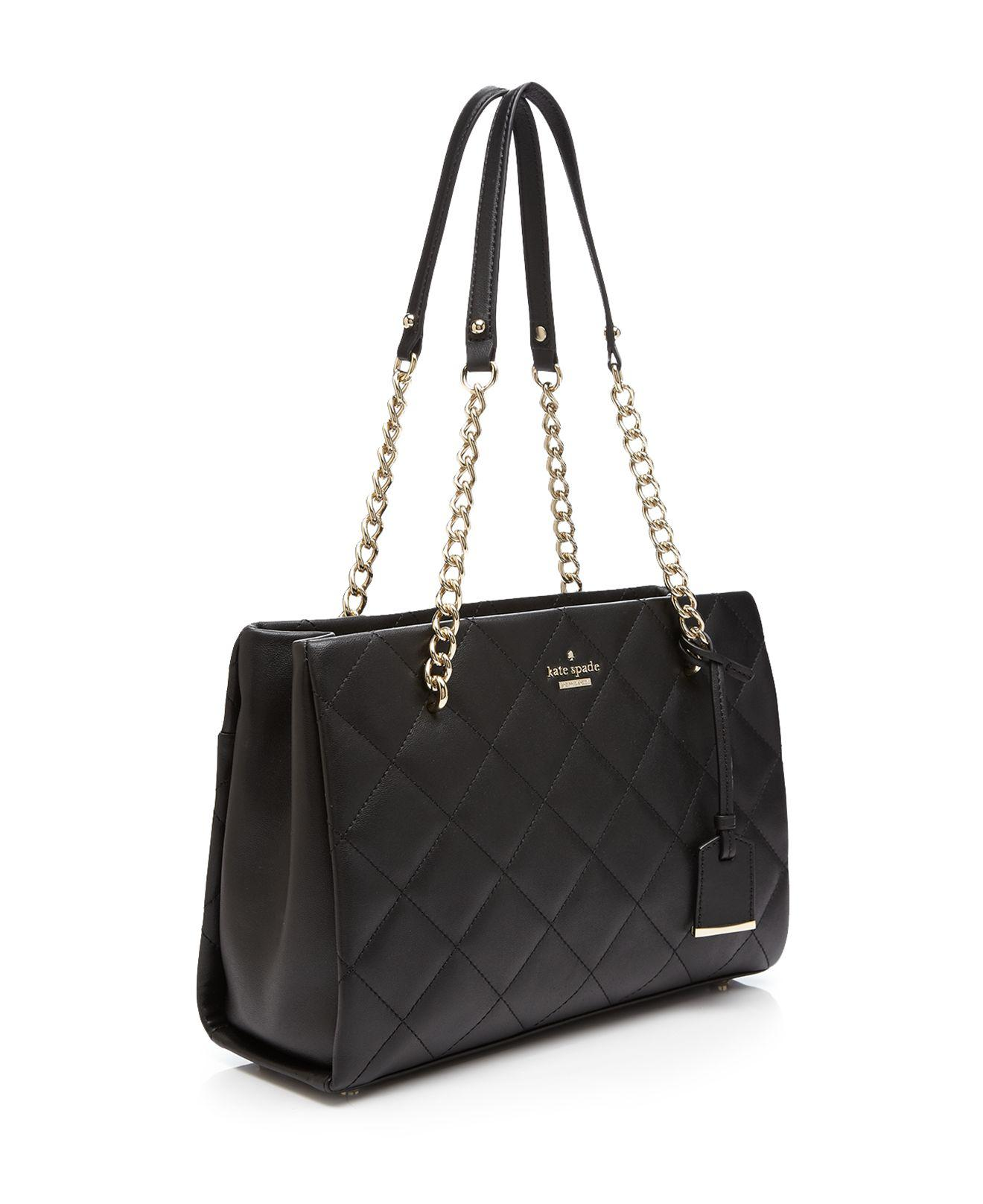 Kate Spade Emerson Place Phoebe Small Leather Tote in Black/Gold (Black)