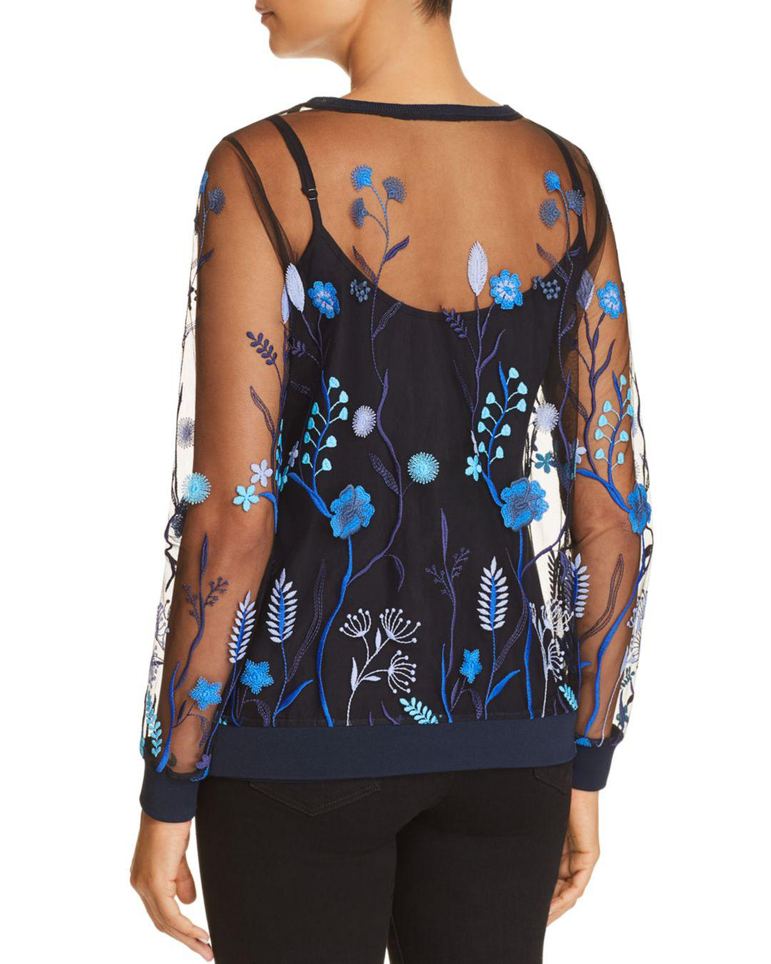 Lyst Elie Tahari Val Floral Embroidered Mesh Top In Blue Flower Pouch Kuning Gallery