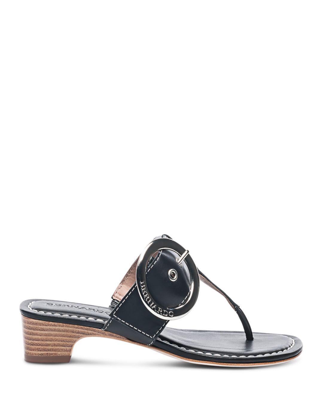 beab102f9be11a Lyst - Bernardo Women s Leather Buckle Block Heel Thong Sandals in Black
