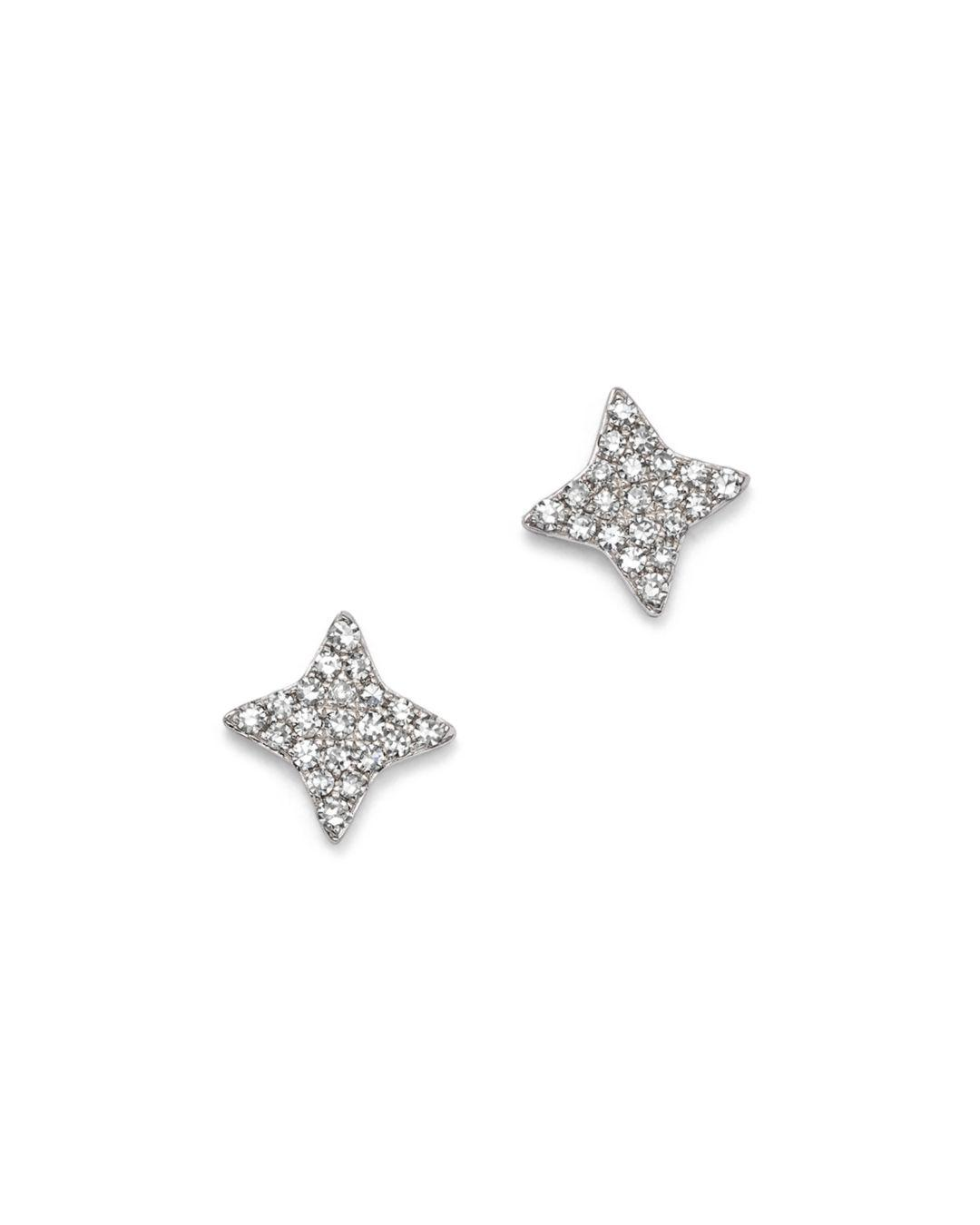 Kc Designs Women S 14k White Gold Small Starburst Diamond Stud Earrings