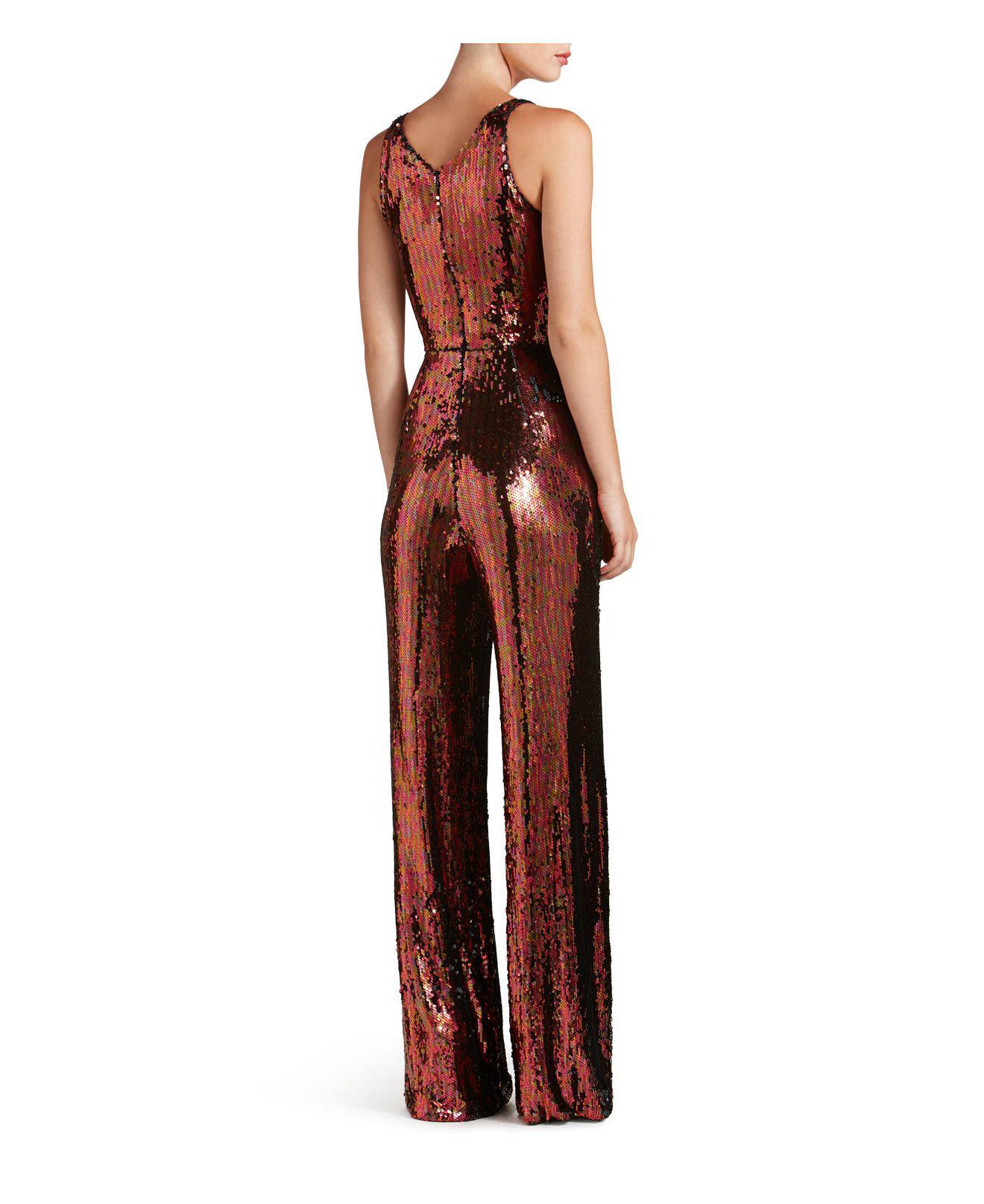 41a1bc40655 Lyst - Dress the Population Charlie Sequin Jumpsuit