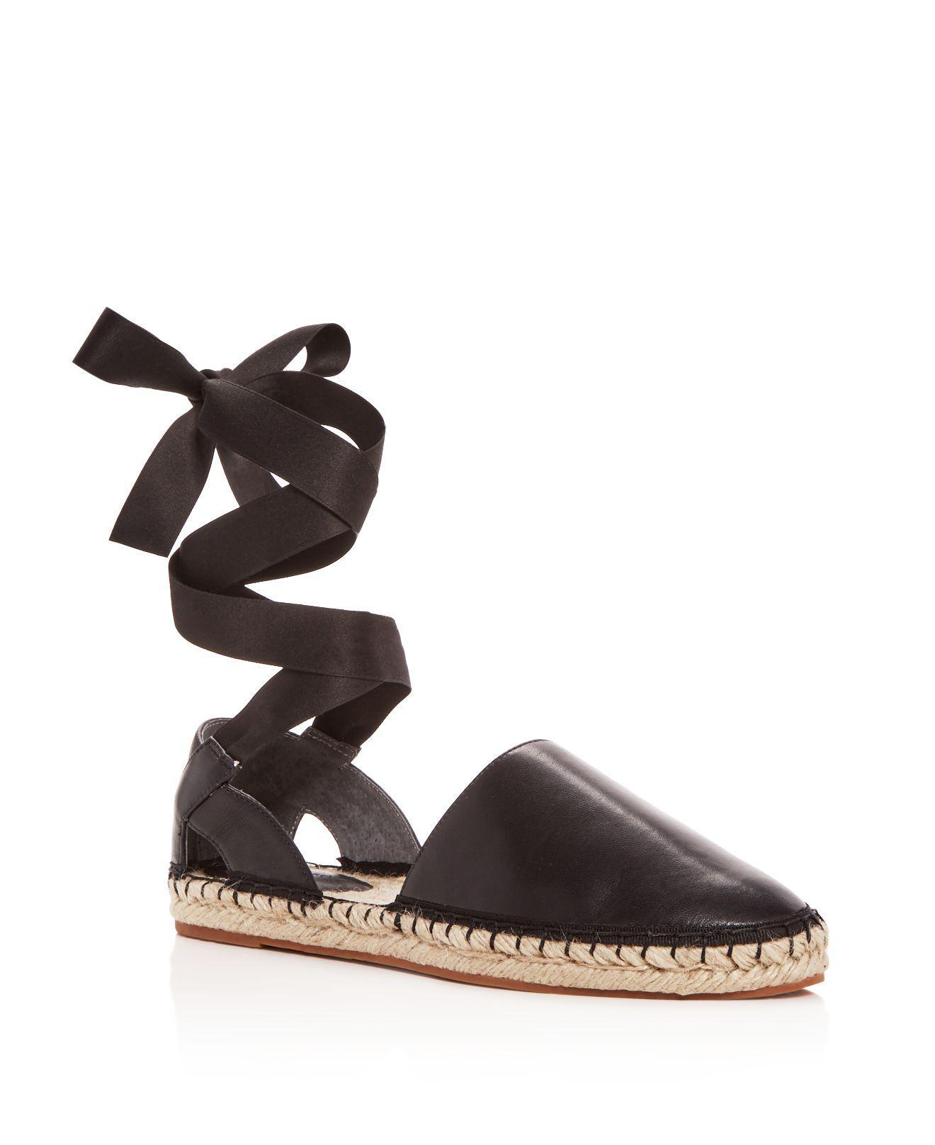 Rebecca Minkoff Women's Vivien Leather Ankle Tie d'Orsay Espadrille Flats ELvS61rn