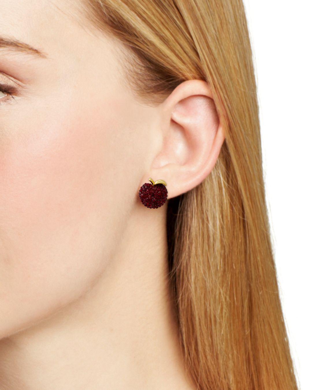 Kate Spade Pavé Apple Stud Earrings - Lyst
