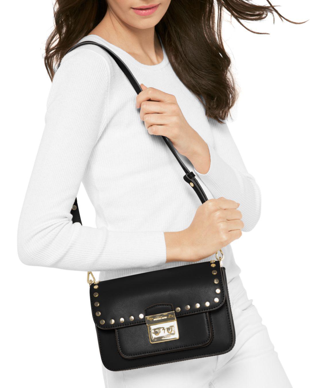 d766ded56f MICHAEL Michael Kors Sloan Editor Studded Large Leather Shoulder Bag in  Brown - Lyst