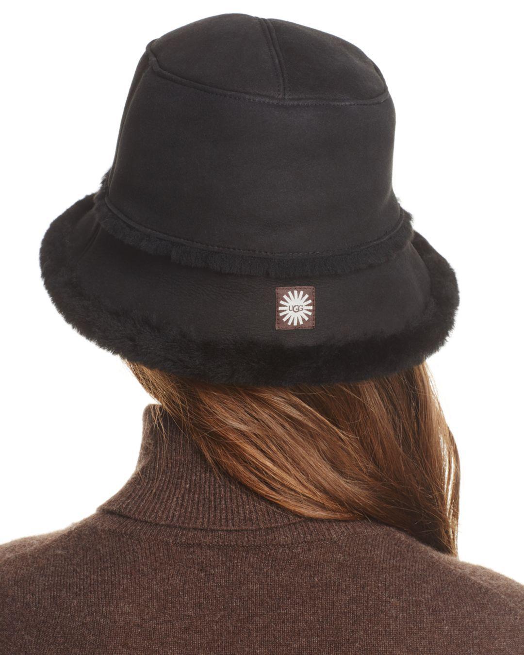 Pink Iphone: UGG Shearling Trim Bucket Hat In Black
