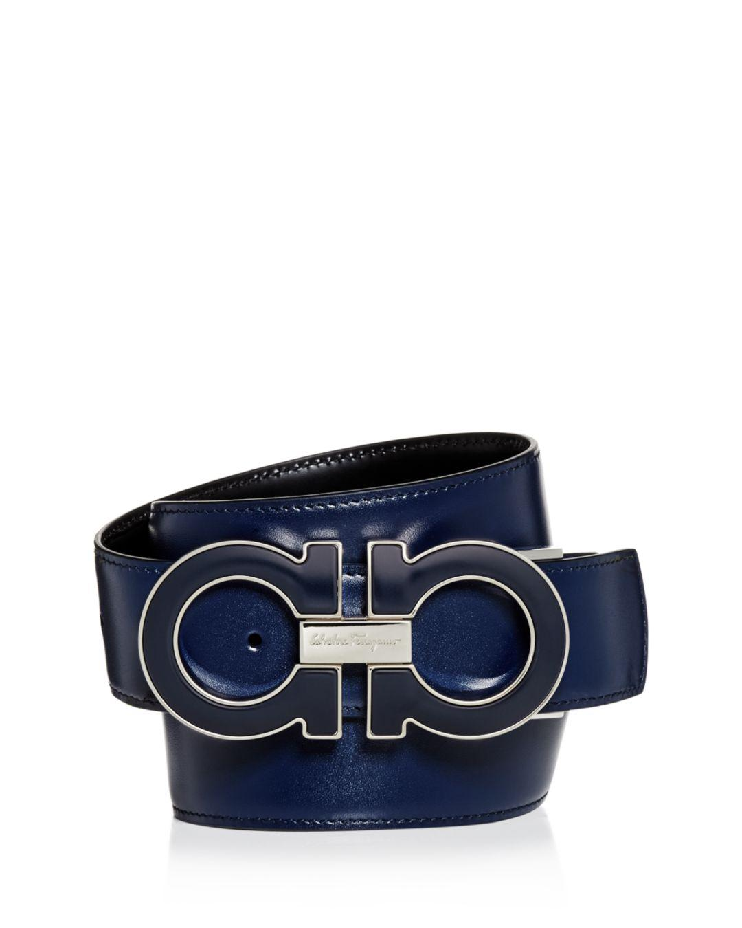 415a6511a0c9f Ferragamo. Men s Blue Oversized Enamel Double Gancini Reversible Leather  Belt