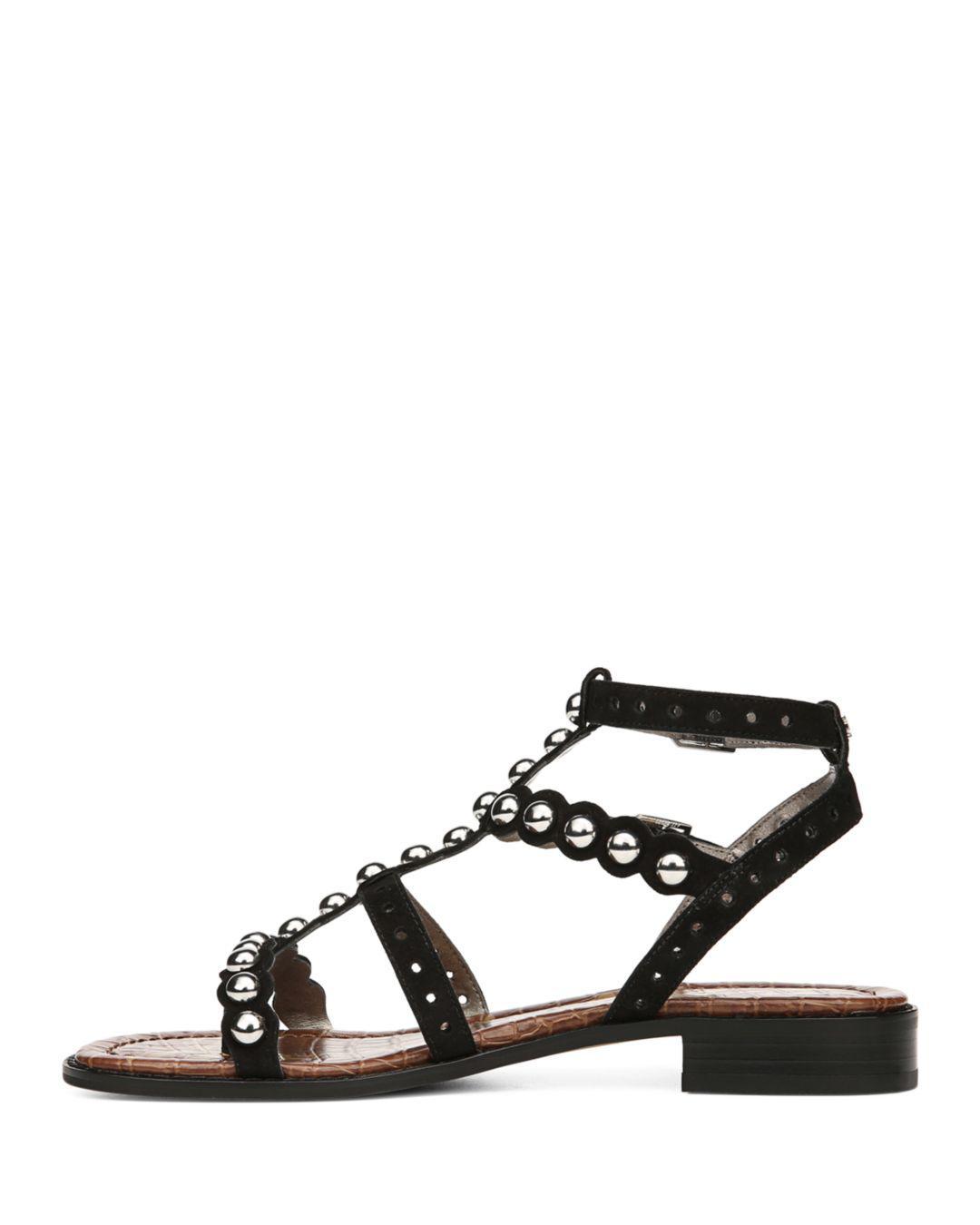 be723f9663aa Sam Edelman Women s Elisa Studded Suede Sandals in Black - Lyst