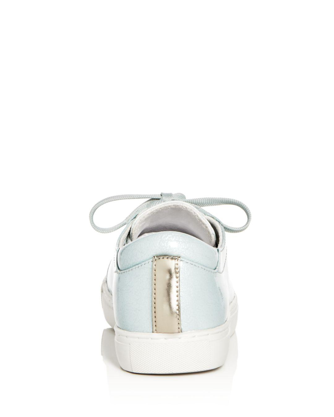 Kenneth Cole Women's Kam Techni-cole Patent Leather Lace Up Sneakers in Mint (White)
