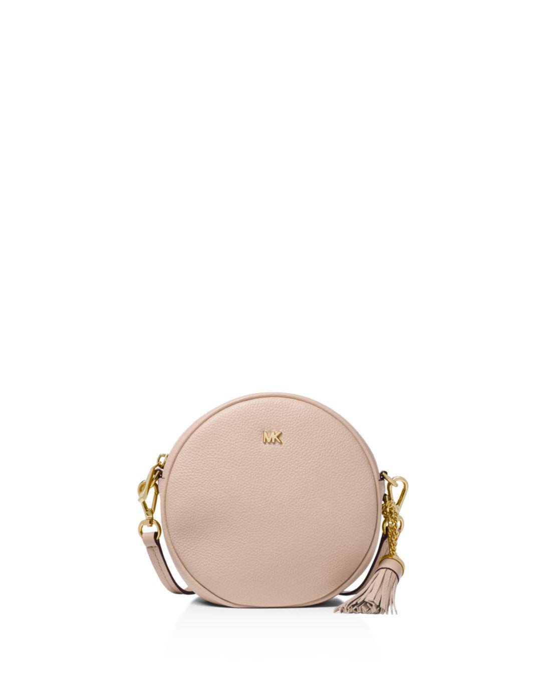 2e9b524b2baf Michael Michael Kors Medium Leather Circle Crossbody in Pink - Lyst