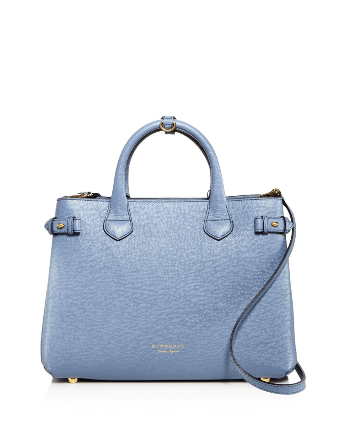 738de1ba42be Lyst - Burberry Banner House Check Medium Leather Tote in Blue