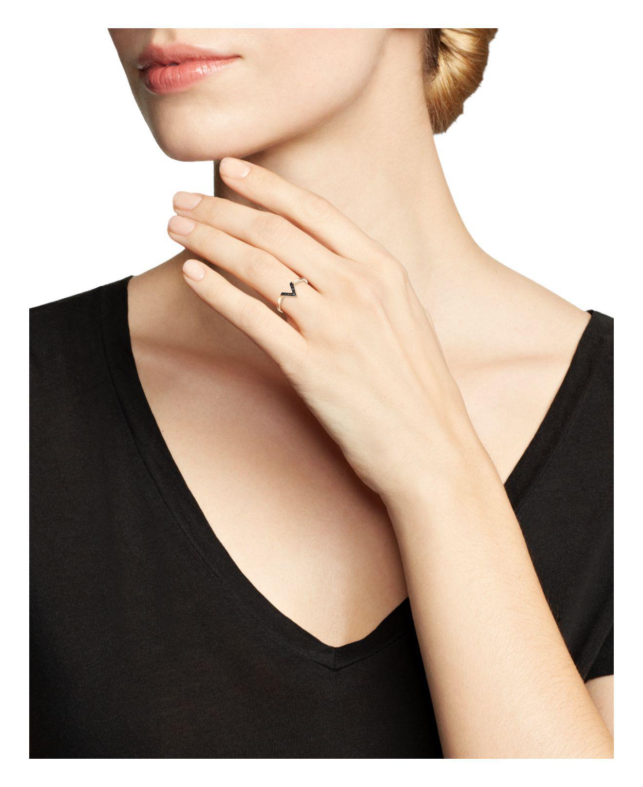 Zoe Chicco 14k Rose Gold Black Pave Diamond Small V Ring in Black/Rose (Pink)