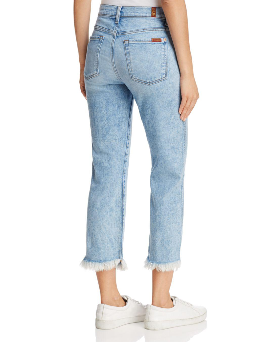 7 For All Mankind Denim Ali Cropped Frayed-cuff Jeans In Radiant Wythe in Blue