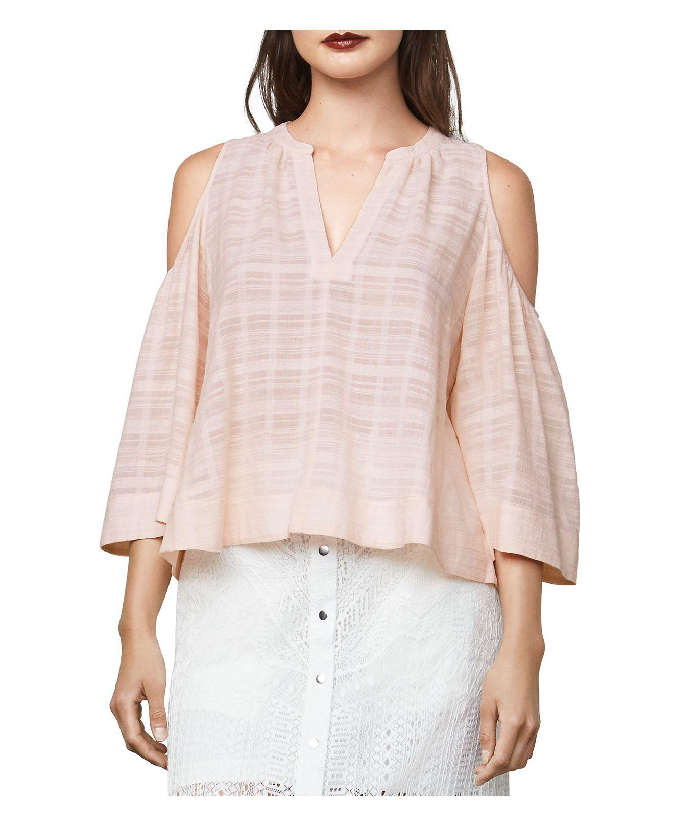 31c3ad2365c916 Lyst - BCBGMAXAZRIA Elin Cold-shoulder Bell-sleeve Top in Pink