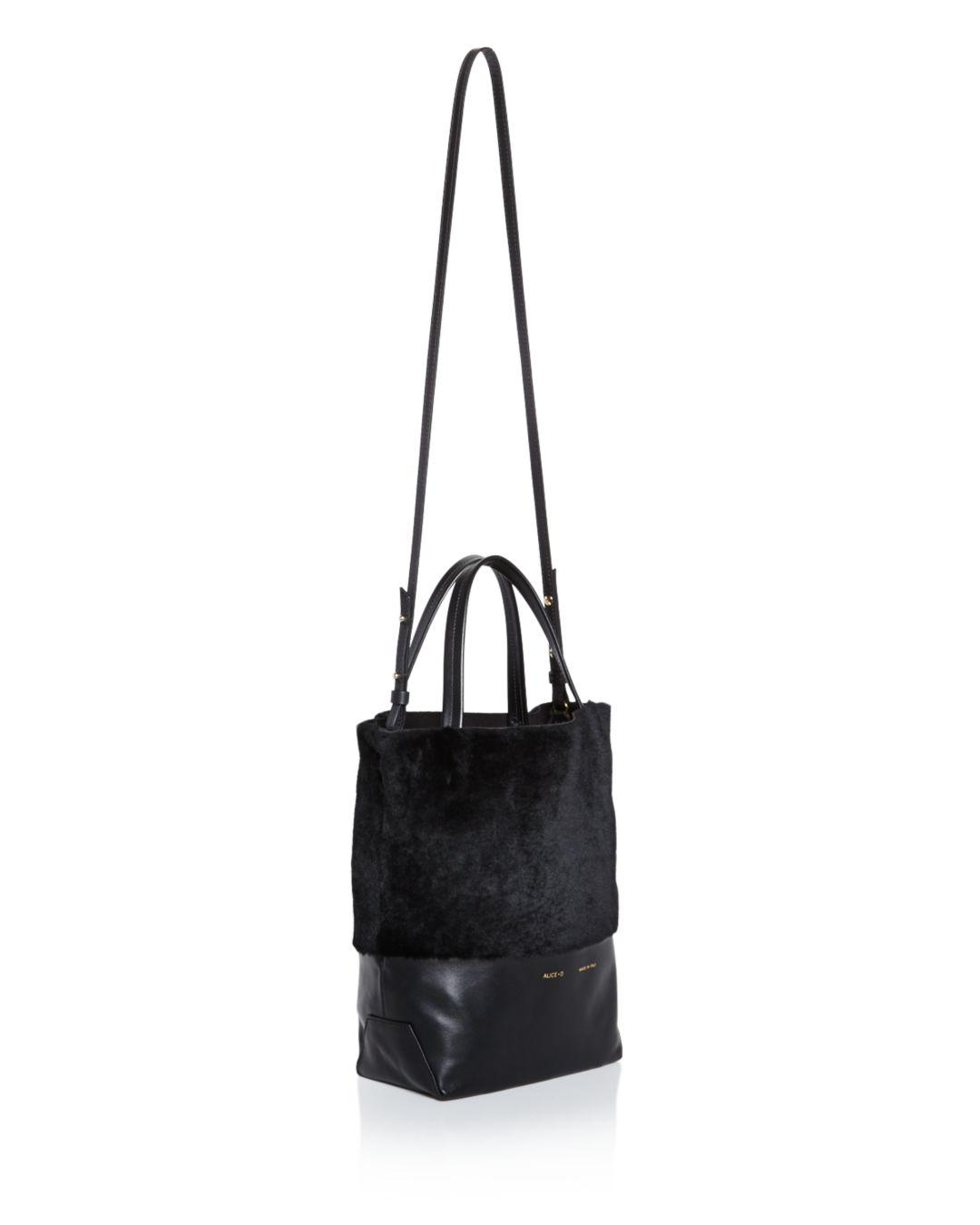 Alice.D Husky Small Shearling Tote in Black
