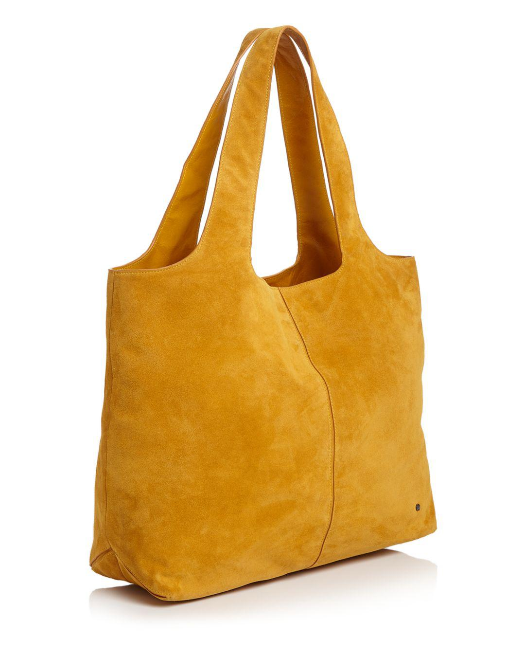 Halston Heritage Tina Soft Large Suede Tote in Yellow - Lyst 98c83264ff970