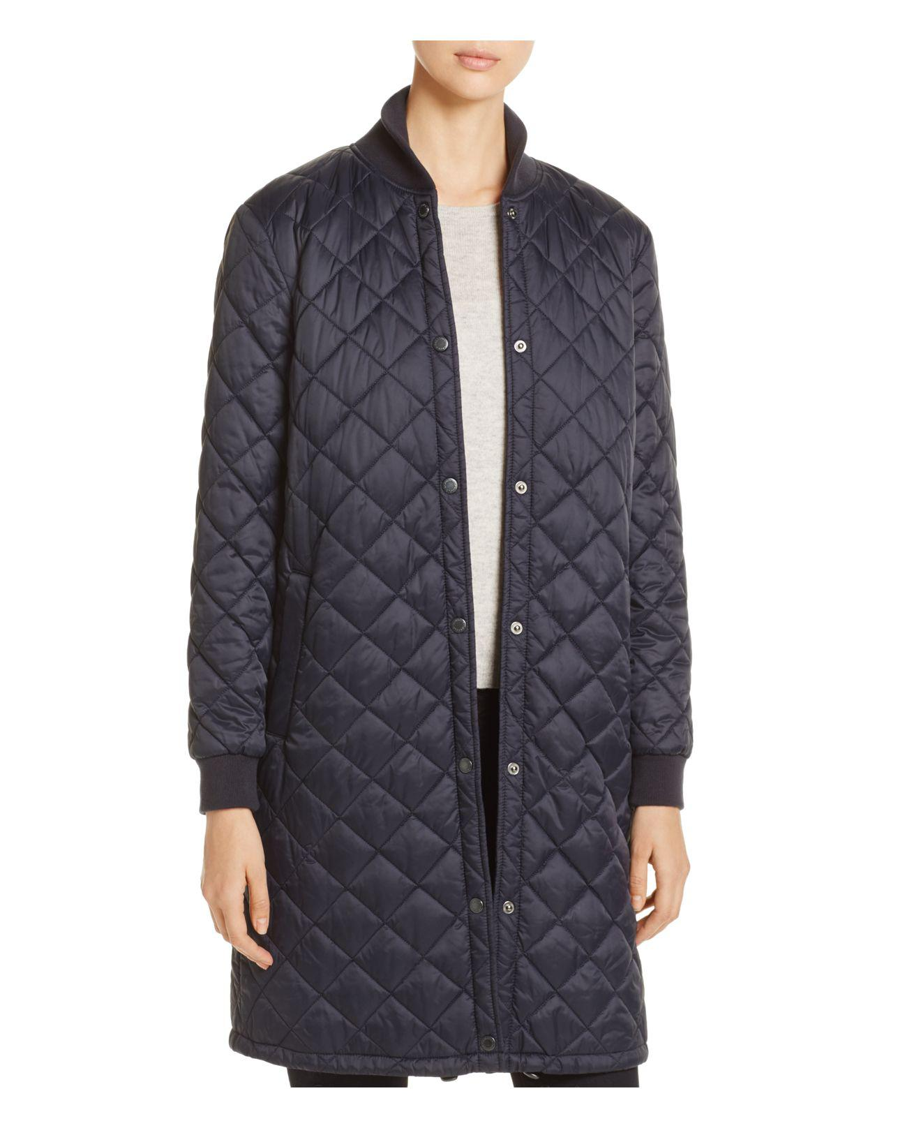 Barbour Ebbertson Long Quilted Coat In Blue Lyst