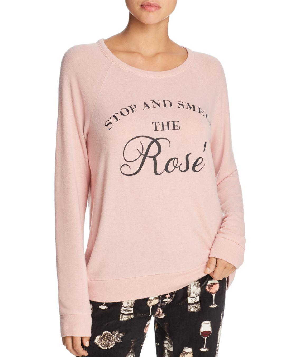 Smell The Rose Blush PJ Salvage Womens Graphic Lounge Long Sleeve Crewneck Top Medium