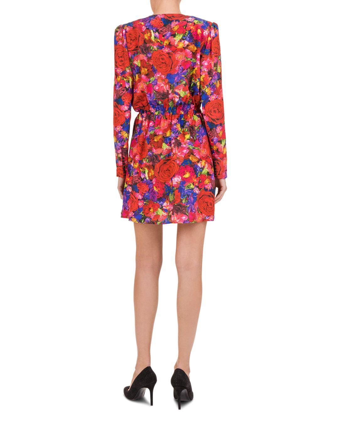 5bb4101393 Lyst - The Kooples Summer Night Floral-print Silk Mini Dress in Red