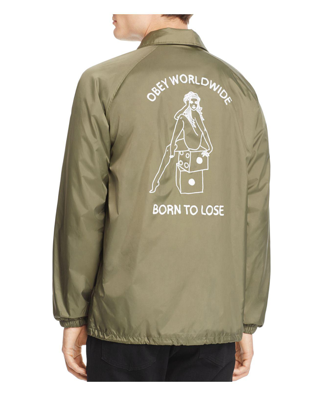 Obey Born To Lose Coach Jacket in Army Green (Green) for Men