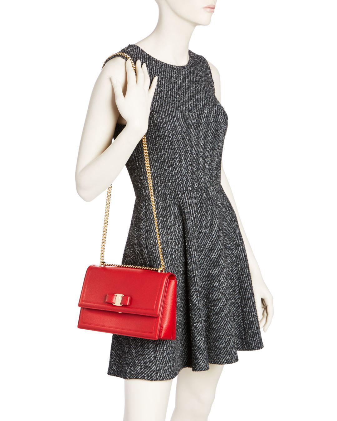 Lyst - Ferragamo Ginny Medium Saffiano Leather Shoulder Bag in Red 1ca409cb5b75c