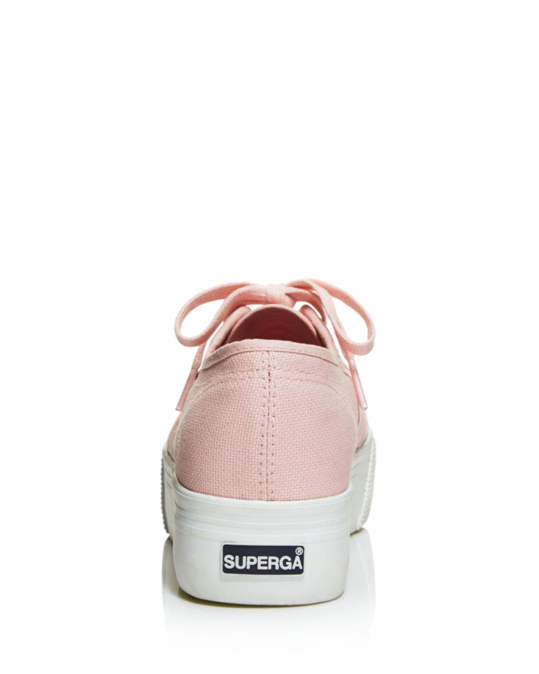 Superga Women's Coloreycotw Multicolor Eyelet Lace Up Platform Sneakers in Vintage Pink (Pink)