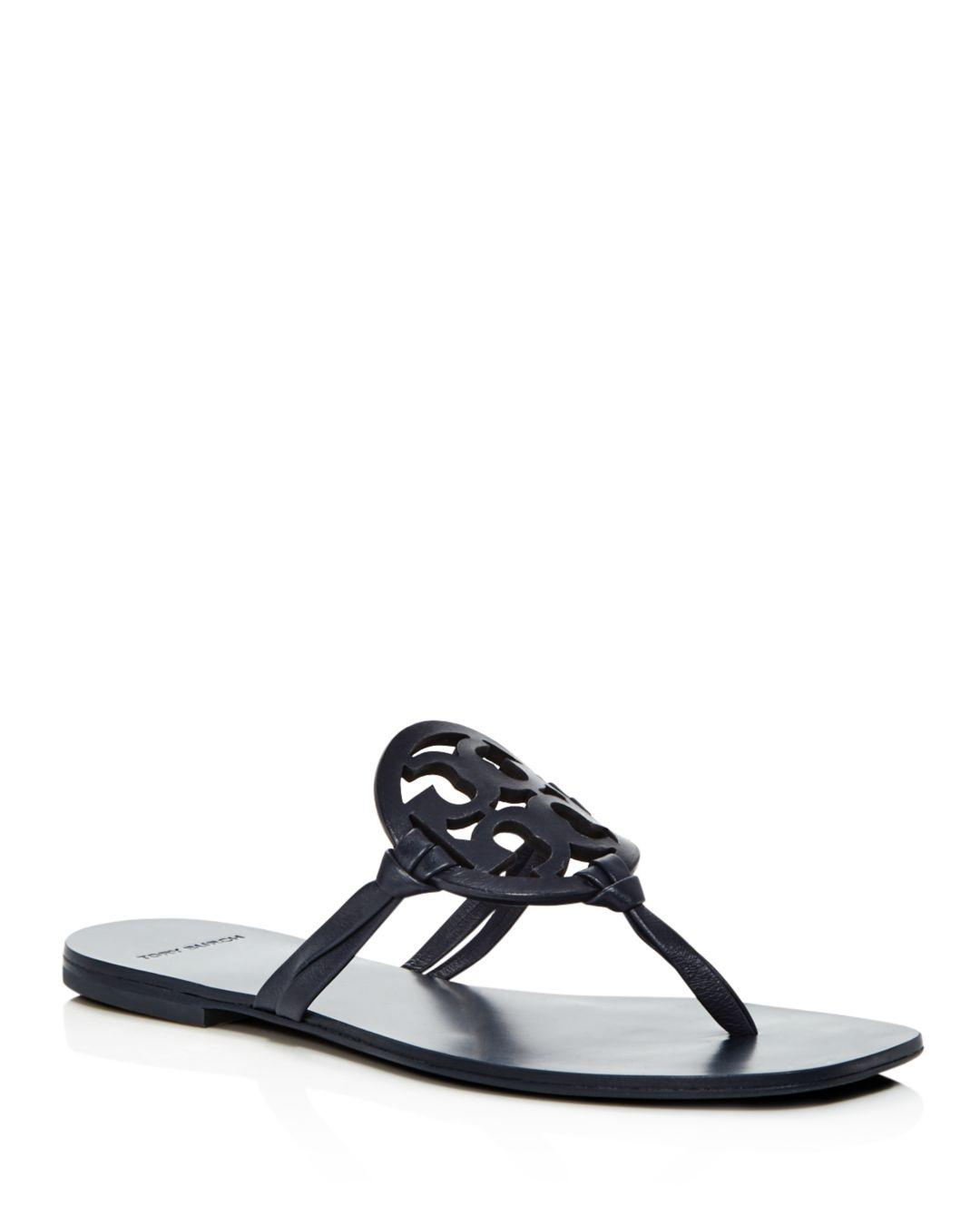 173a25663bc776 Lyst - Tory Burch Women s Miller Square Toe Leather Thong Sandals