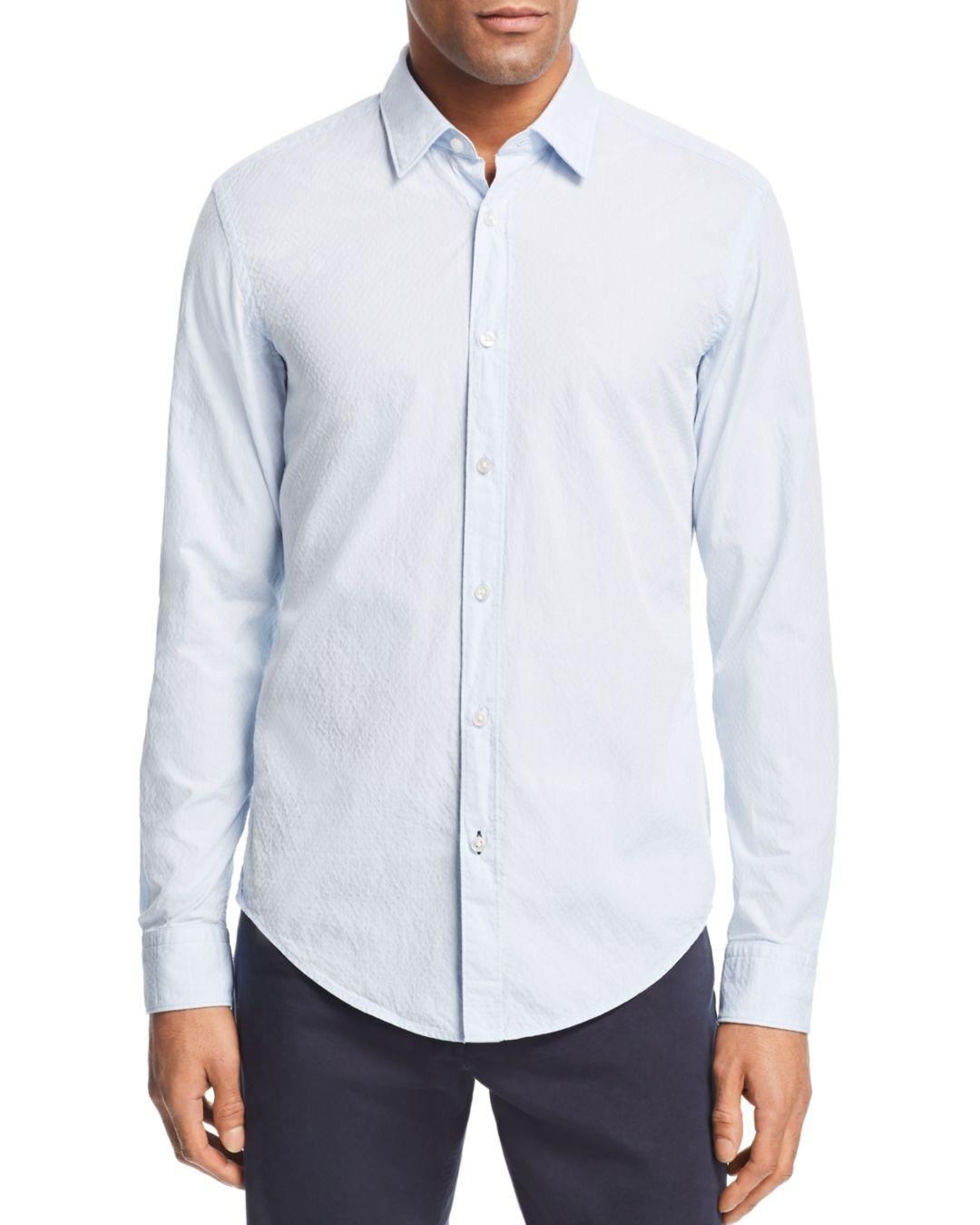 0d833cf7830 Lyst - BOSS Ronni Micro-embroidered Slim Fit Shirt in Blue for Men