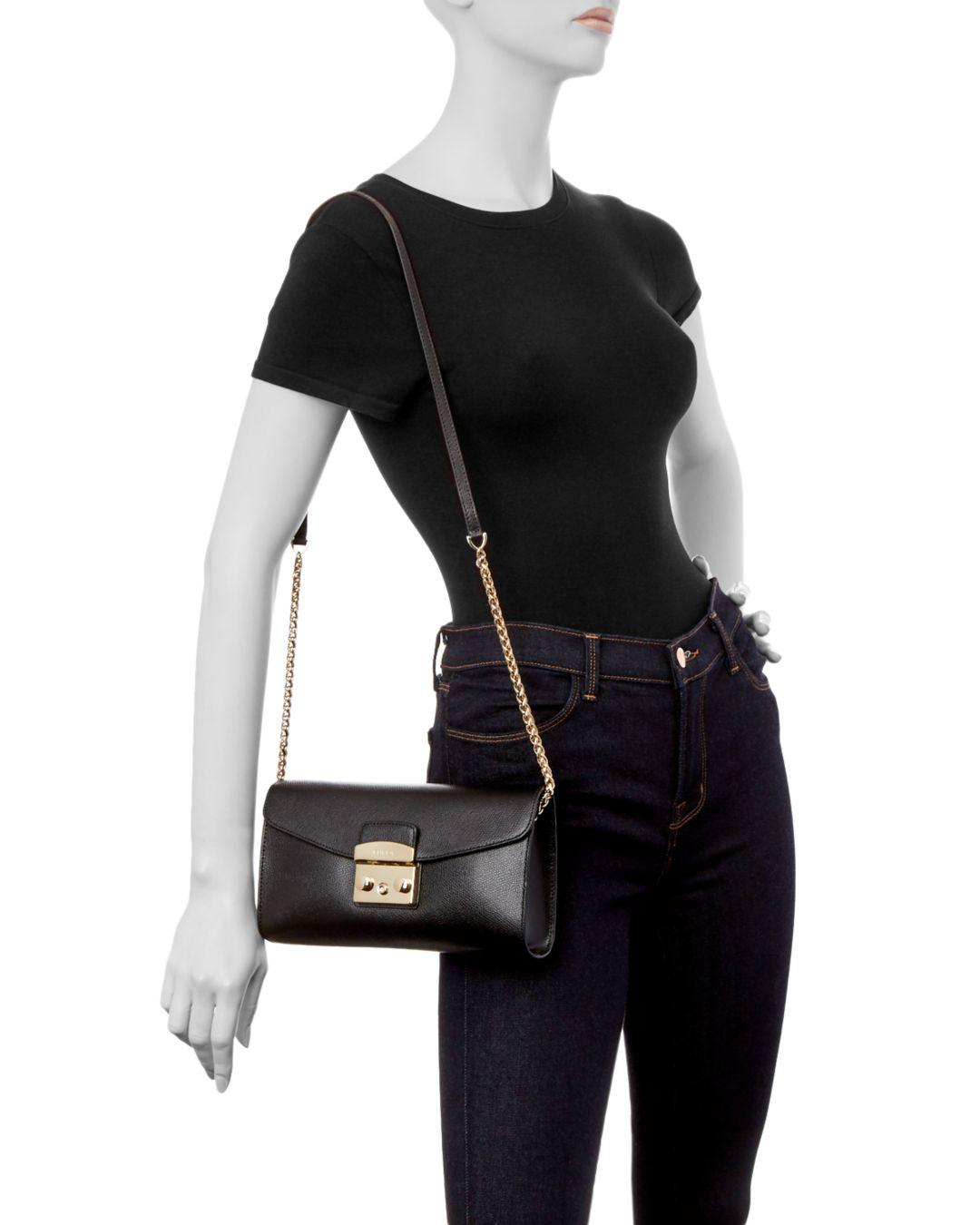 543e37f876 Lyst - Furla Metropolis Small Leather Pochette in Black