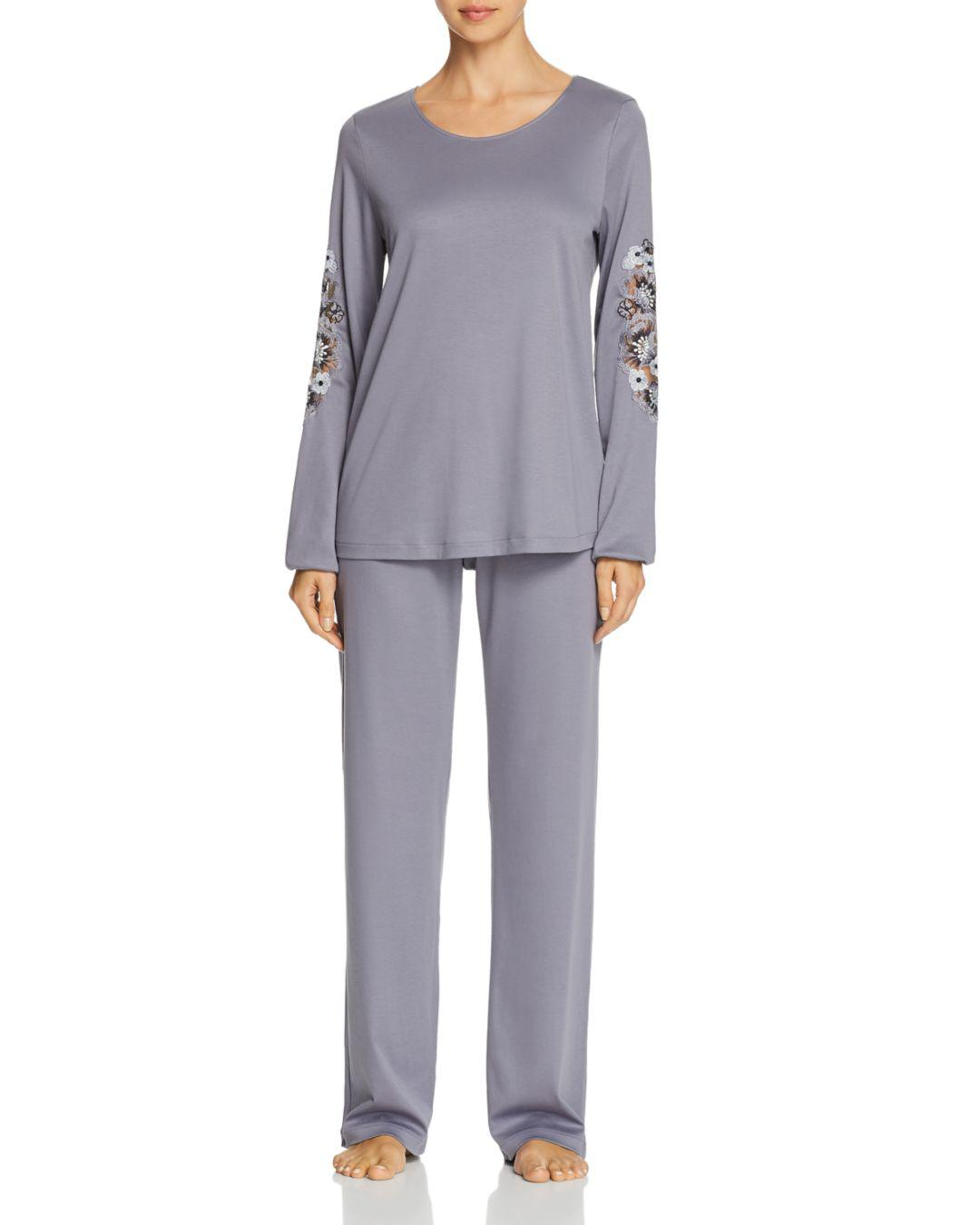 0661d113f6 Hanro Jana Embroidered Long Sleeve Cotton Pajama Set in Blue - Lyst