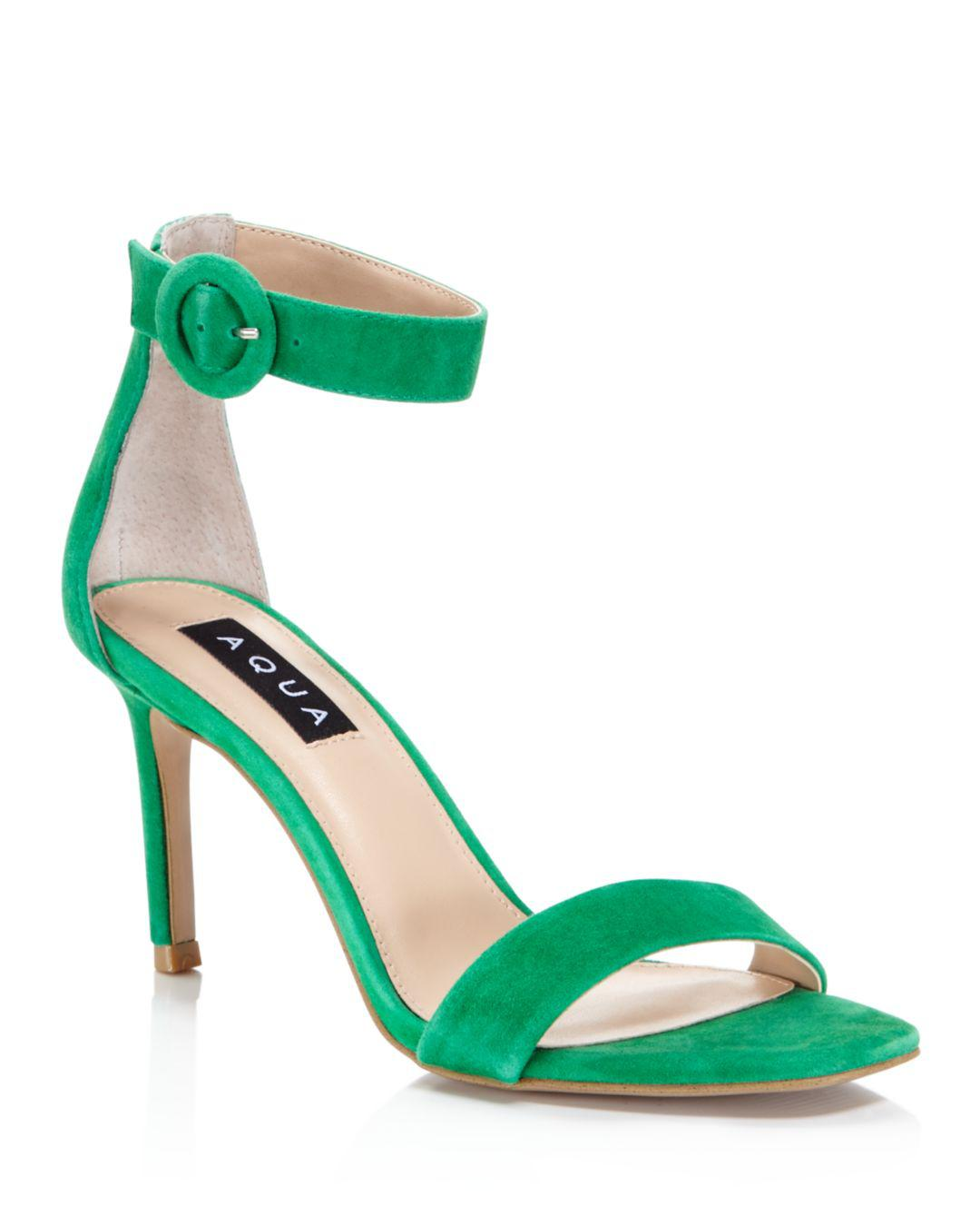 bcb374cb7aa Lyst - Aqua Women s Seven Suede High-heel Ankle Strap Sandals in Green