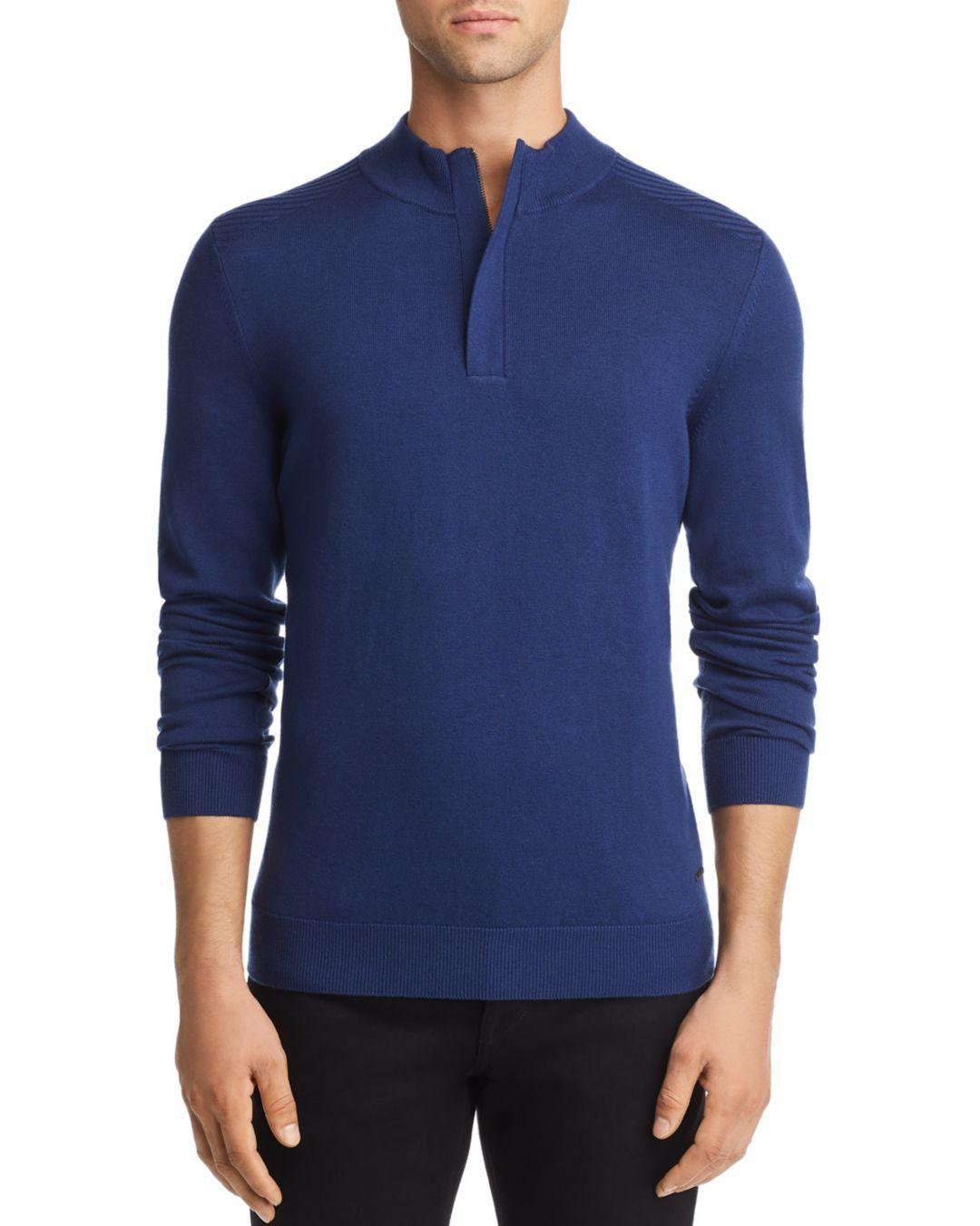 7bda8e340 BOSS Boss Esilvio Quarter Zip Pullover in Blue for Men - Lyst