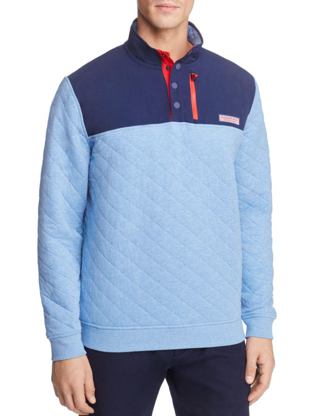 Lyst Vineyard Vines Quilted Pullover Sweater In Blue For Men