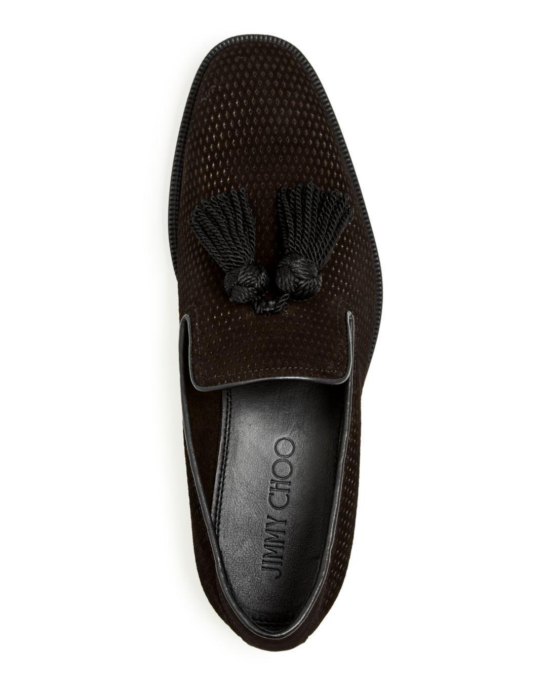 a45740beebb Jimmy Choo Men s Foxley Embossed Velvet Tassel Smoking Slippers in Black  for Men - Lyst