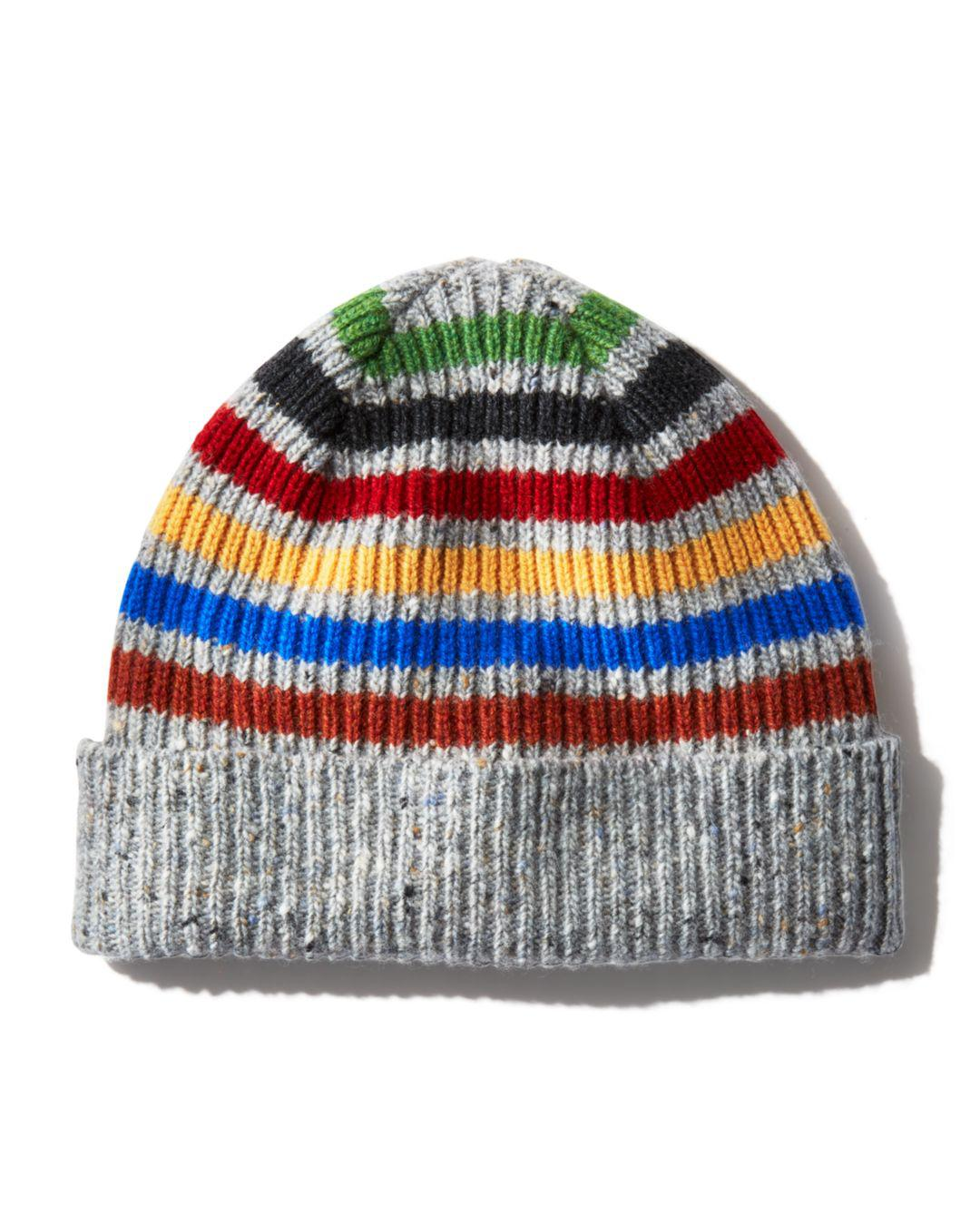 2b6a5ff7b7d Lyst - Paul Smith Donegal Striped Beanie in Gray for Men