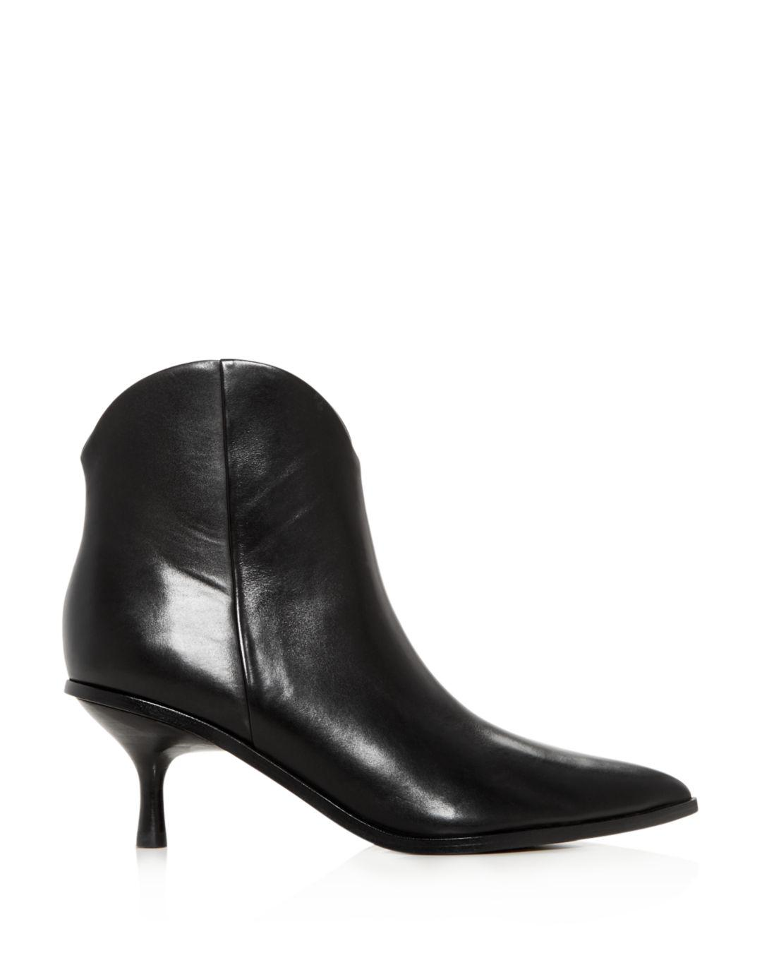 Sigerson Morrison Leather Hayleigh Kitten Heel Ankle Boot in Black