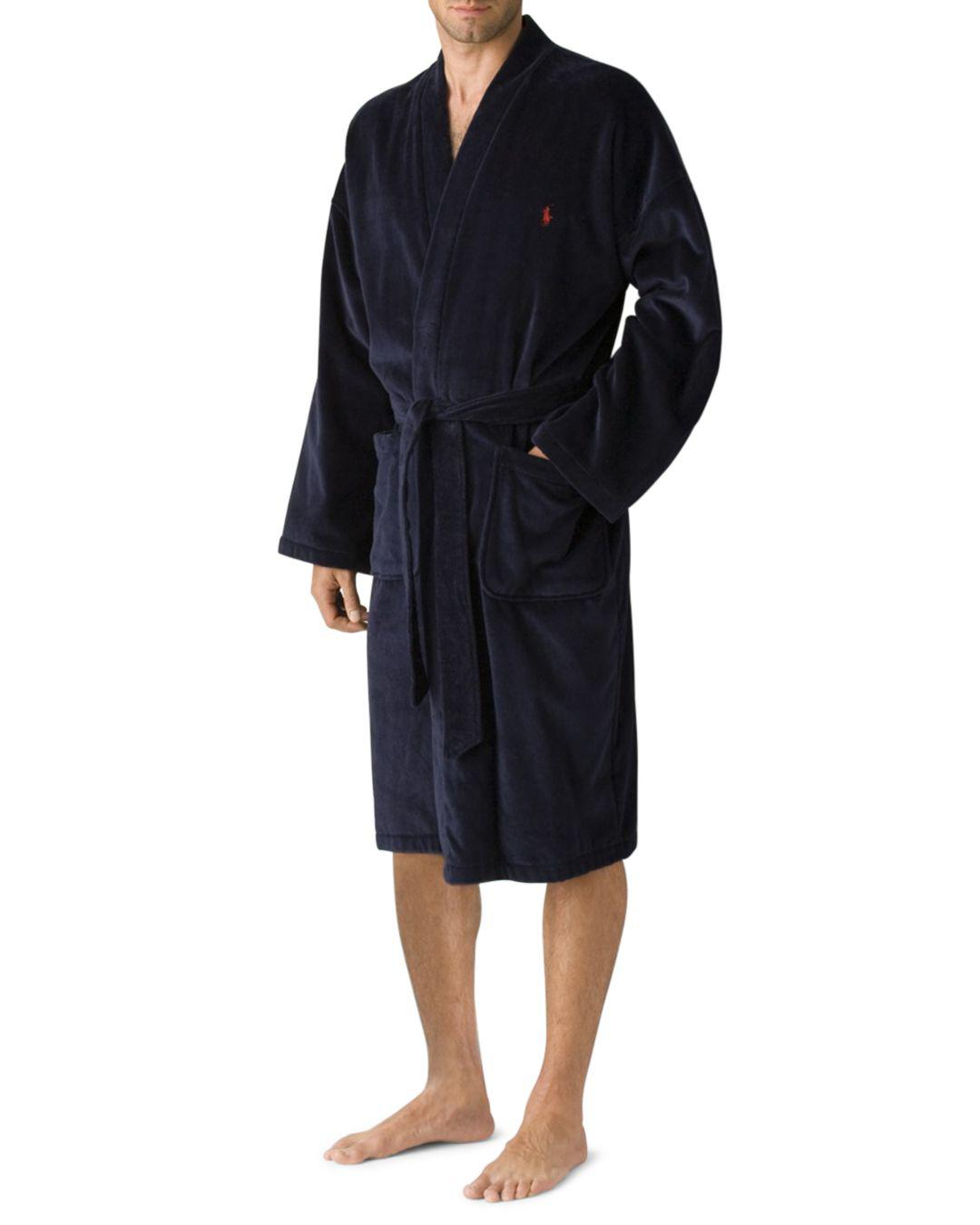Polo Ralph Lauren Cotton Big Velour Kimono Robe in Black